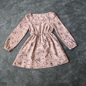 Dusty rose colored mini dress with puffy sleeves